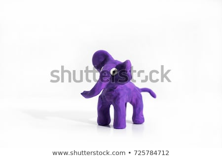childrens elephant of plasticine isolated on white with clipp stock photo © frescomovie