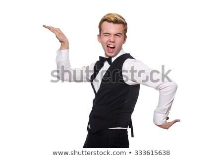 Сток-фото: портрет · счастливым · молодые · официант · изолированный · белый