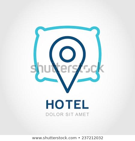 Map Pointer sleep Hotel icon Stock photo © kiddaikiddee