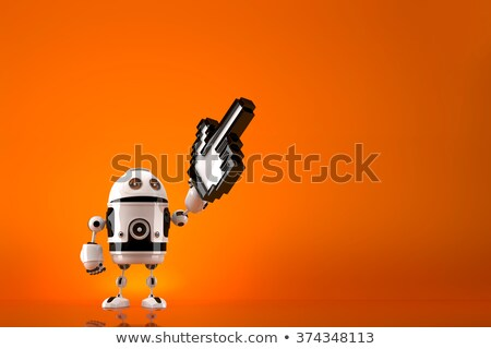 Robot with pixelated pointer. Contains clipping path Stock photo © Kirill_M
