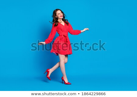 stunning brunette beauty wearing vintage dress stock photo © konradbak
