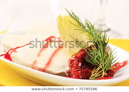Mozzarella framboos reductie voedsel kaas Stockfoto © Digifoodstock