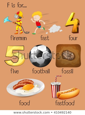 Flashcard letter F is for fastfood Stock photo © bluering