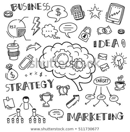 Doodle hersenen icon symbool Stockfoto © pakete