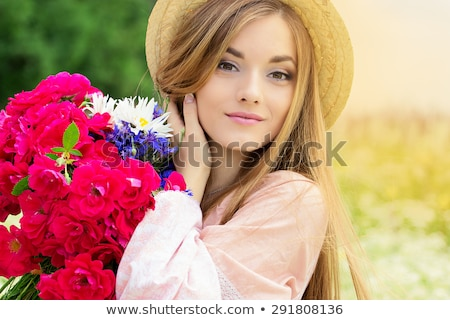 Beautiful girl prado coroa flores retrato Foto stock © artfotodima