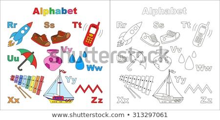子供 靴 言葉 木製のテーブル オフィス 少女 ストックフォト © fuzzbones0