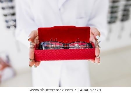 очки случае розовый кожа закрыто изолированный Сток-фото © coprid