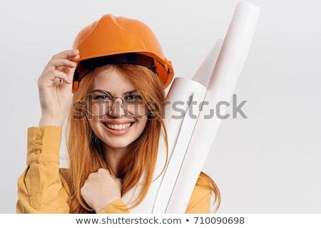 jeune · femme · casque · travaux · outils · blanche · femme - photo stock © vlad_star
