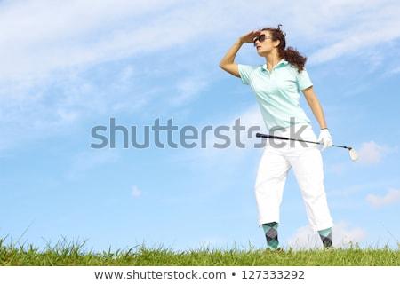 golfball · blue · sky · grama · fundo · metal · clube - foto stock © njnightsky