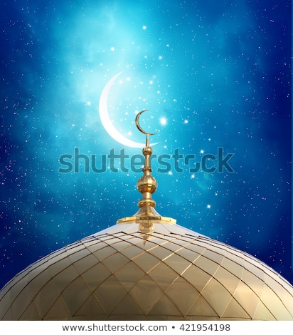 mosque silhouette in night sky with golden crescent moon and sta Stock photo © SArts