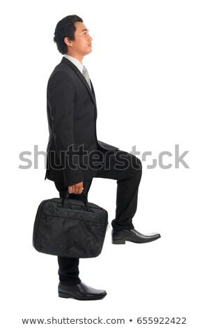 Stock fotó: Délkelet · ázsiai · üzletember · mászik · lépcsősor · egészalakos