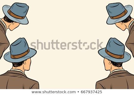 four men spectators look on a neutral copy space background Stock photo © studiostoks