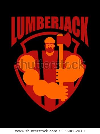 Logo favágó felirat szimbólum szakáll fa Stock fotó © popaukropa