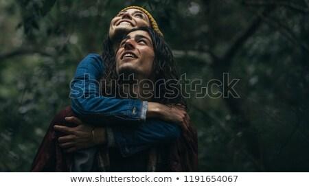 hombre · guapo · mujer · flor · nina · feliz - foto stock © feedough