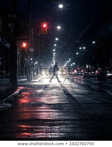 Stockfoto: Nacht · auto · lichten · rijden · winter