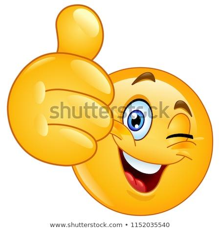 Happy Thumbs Up Emoji Emoticon Stock photo © Krisdog