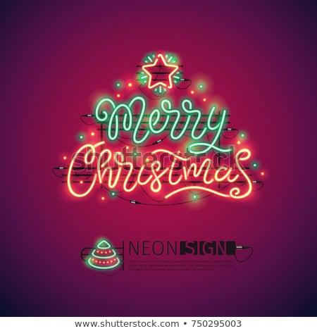Vidám karácsony piros neonreklám gyors könnyű Stock fotó © Voysla