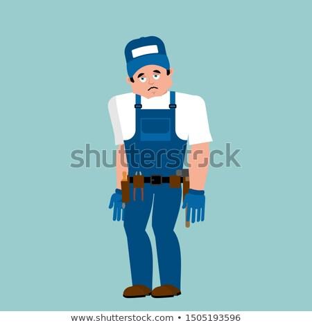 Plumber sad. Fitter sorrowful emoji. Service worker Serviceman m Stock photo © popaukropa