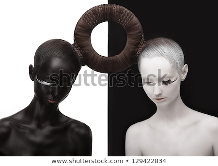 Black and white Yin Yang symbol with faces Stock photo © adrian_n