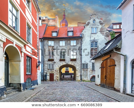 colorful architecture of riga old town stock photo © benkrut