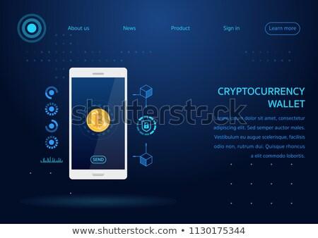 Terv weboldal bitcoin vektor színes poszter Stock fotó © studioworkstock