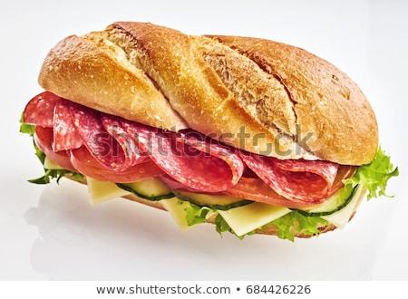sanduíche · salame · salada · pão · jantar · café · da · manhã - foto stock © m-studio