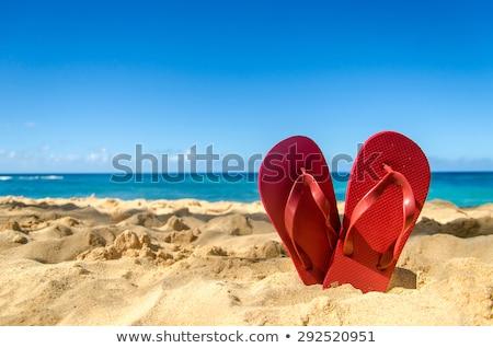 Tengerpart világoskék homokos tengerpart naplemente Stock fotó © sidewaysdesign