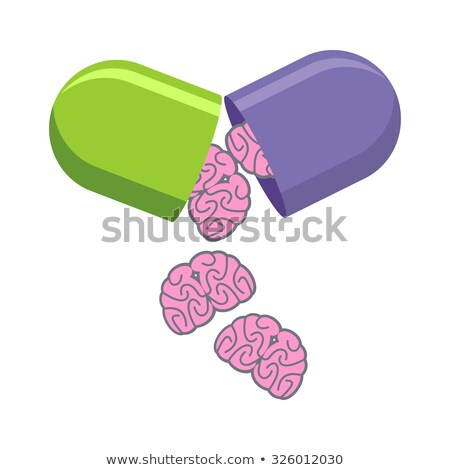 Pill with brains. Tablet for mind. Medical drug to increase IQ.  Stock photo © popaukropa