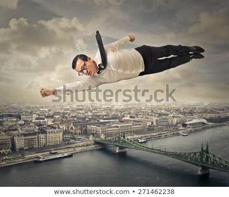 Ernstig zakenman vliegen pop art retro Stockfoto © studiostoks