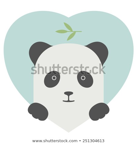 animal set portrait of a panda in love over heart backdrop stock photo © foxysgraphic