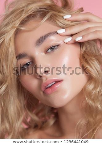 sarışın · kadın · güzel · yeşil · gözleri · bakmak - stok fotoğraf © lubavnel