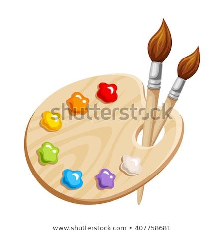 Houten palet penseel verf onderwijs tabel Stockfoto © wavebreak_media