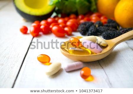 Vitaminas cuchara frutas hortalizas nueces Foto stock © Lightsource