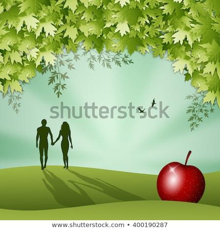 jardín · árbol · amor · hombre · Pareja · tierra - foto stock © adrenalina