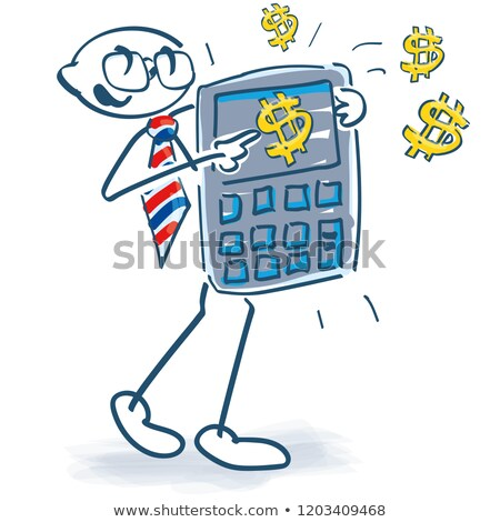 Stick figures with calculator and US dollars Stock photo © Ustofre9