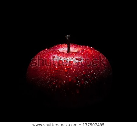 Fresh organic red apples on black background. stock photo © Illia