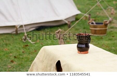 глина Кубок скамейке средневековых лагерь покрытый Сток-фото © sarahdoow