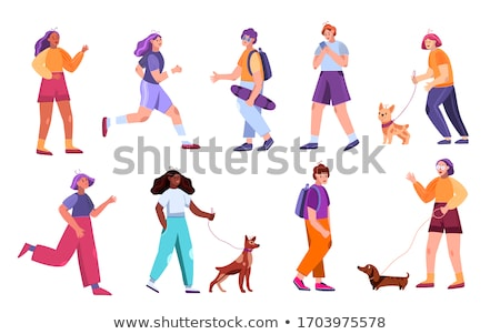 Stok fotoğraf: Boy And Girl Walk The Dog Pet Vector Isolated Illustration