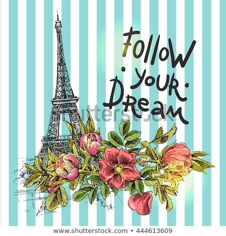 Paris Poster with Blooming Flower and Eiffel Tower Stock photo © robuart