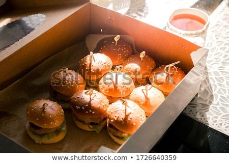 ミニ サンドイッチ タマネギ カモ 肉 レストラン ストックフォト © grafvision