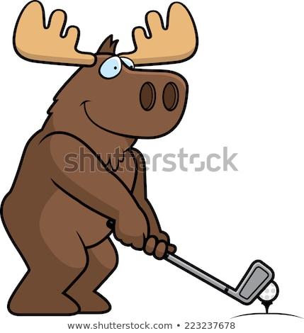 Cartoon Moose golf illustrazione giocare golf Foto d'archivio © cthoman