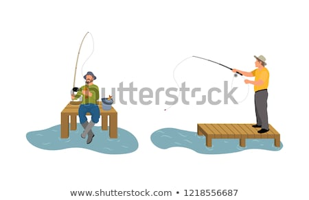 Fishing Man Set of Posters Vector Illustration Stock photo © robuart