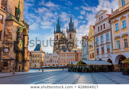 Prague square at sunrise Stock photo © Givaga