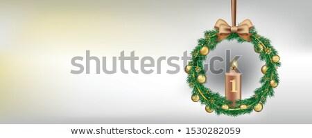 Hóesés advent koszorú arany csecsebecse gyertya Stock fotó © limbi007