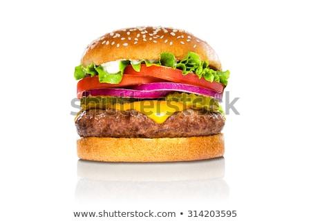 Reusachtig hamburger geïsoleerd witte ongezond voedsel snack Stockfoto © robuart