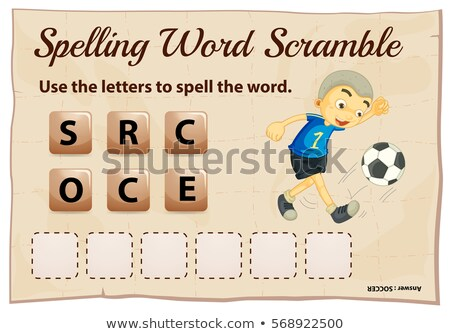 Stock photo: Spelling word scramble game template with word soccer