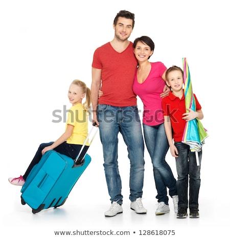 turisták · boldog · fiatal · izolált · fehér · család - stock fotó © elnur