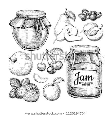En conserva frutas vidrio establecer vector icono Foto stock © robuart