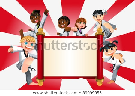 Stockfoto: Cartoon · karate · kid · banner · illustratie · kinderen