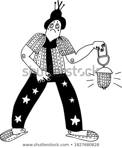 Cartoon Devil in Pajamas Stock photo © cthoman